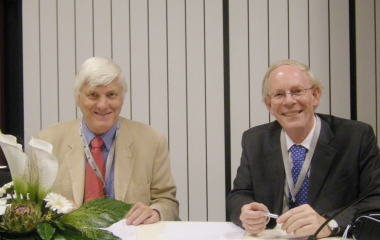 Prof John Hawk and Prof Rik Roelandts chairing a session at ESPD Photodermatology Day in Berlin, October 2009