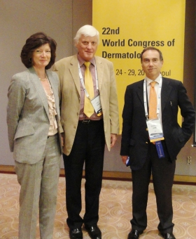 Gillian Murphy (ESPD Treasurer), John Hawk (ESPD President) and Giovanni Leone (ESPD Committee Member) at World Photodermatology Day, Seoul, May 2011